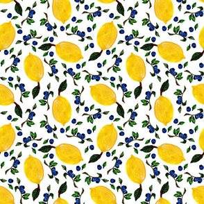 Juicy yellow ripe fruits and blue berries