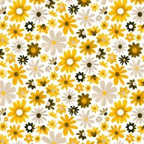 Bohemian Daisy Meadow - Mustard - Small Scale
