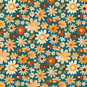 Bohemian Daisy Meadow - Teal & Tangerine - Small Scale