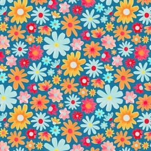 Dazzling Daisy Meadow on Blue - Small Scale