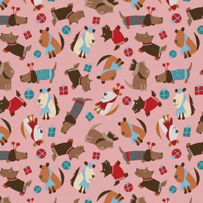 christmas dogs-pink-spoonflower-maebywild