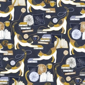 A Comforting Cup of Coffee in The Cozy Company of Cats - dark navy blue, mustard yellow, neutral tans and grey