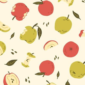 Apple pattern with seeds, leaves and stub