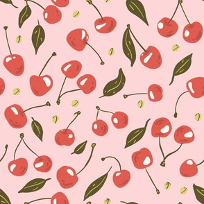 Cherry, leaves and seeds on pink