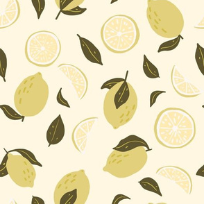 Lemon, slices and leaves in yellow