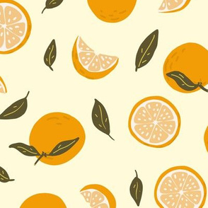 Orange, slices  and leaves on yellow