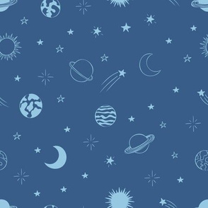 Sky on blue with planets and stars