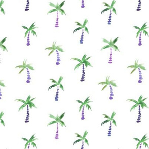 Periwinkle and green watercolor palms - tropical palm pattern for home decor, nursery