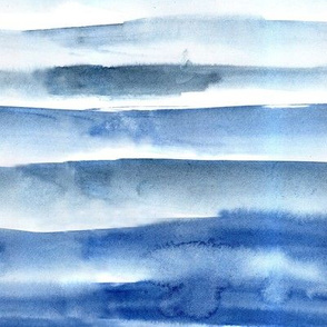 Blue watercolor painterly stripes - abstract hand painted textured stripe design for modern home decor_ bedding_ nursery