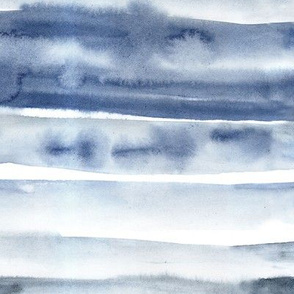 Indigo watercolor painterly stripes - abstract hand painted textured stripe design for modern home decor_ bedding_ nursery