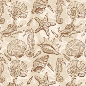 Seashells, seahorse and stars - beige