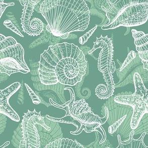 Seashells, seahorse and stars - mint color