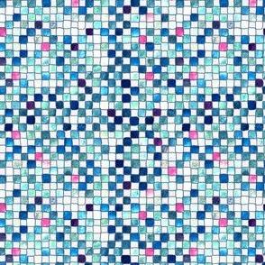 Swimming pool blue tiles