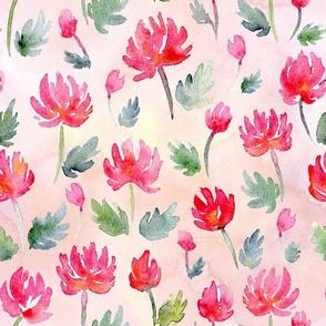 Cute pink watercolor flowers