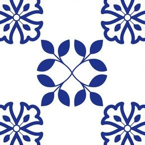 Minimalistic Floral Azulejo Tile