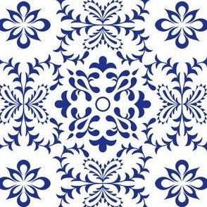Floral Mediterranean Symmetry, Azulejo Tile