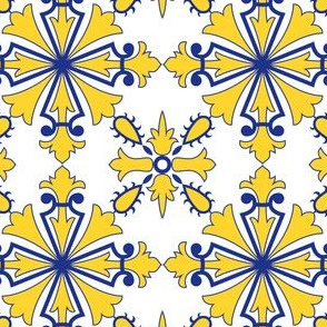 Symmetrical Floor Portuguese Tile Azulejo