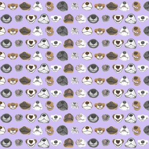 Tiny Derpy Doggy faces - purple