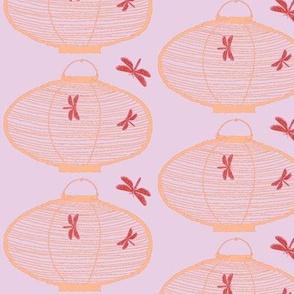 Bamboo Lantern & dragonflies (lilac, light tangerine & blood orange)