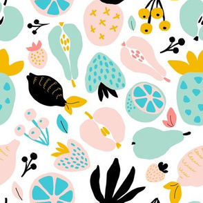Abstract pastel fruits and berries pattern