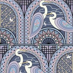 Egrets On The Bridge Purple L