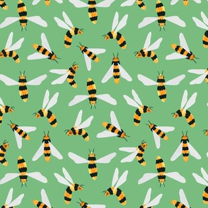 Friendly Gouache Bees on Green - Scandi - Small Version