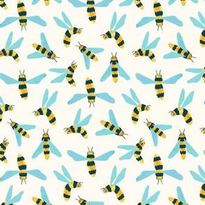Friendly Gouache Bees - Scandi, Mint - Small Version