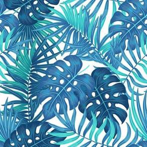 Tropical leaves - blue