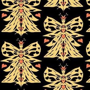 Bee Queen of Hearts on Black