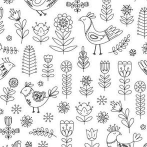 scandi birds with flowers