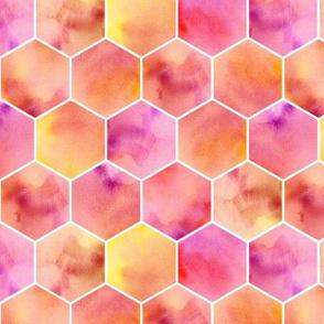 warm colors hexagons