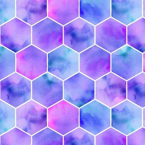 watercolor lilac hexagons
