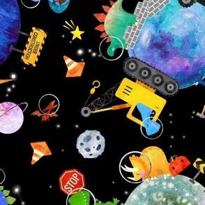 large dinosaur space construction watercolor