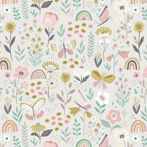 Wildflowers & Rainbows in Beige - small scale