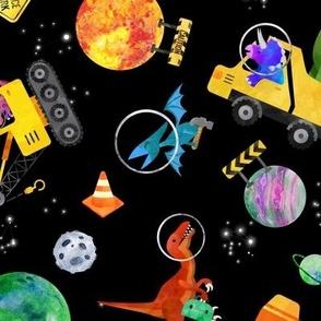large dinosaur space crew watercolor