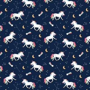 Magical universe rainbow constellation unicorn and shooting stars kids nursery design navy pink SMALL