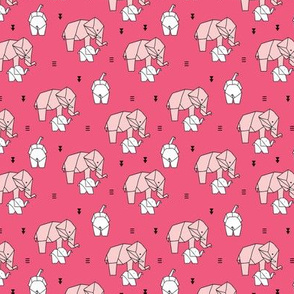 Geometric elephants origami paper art safari theme mother and baby girls pastels pink SMALL