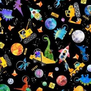 small dinosaur space crew watercolor