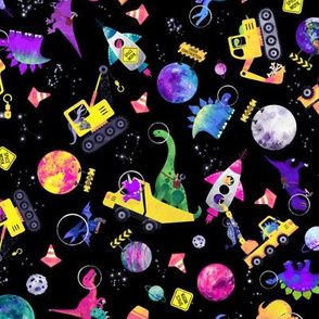 small dinosaur space crew watercolor pink