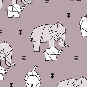 Sweet origami animal little baby elephant and mother sweet neutral boho nursery geometric design mauve purple