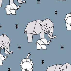 Sweet origami animal little baby elephant and mother sweet neutral boho nursery geometric design stone blue