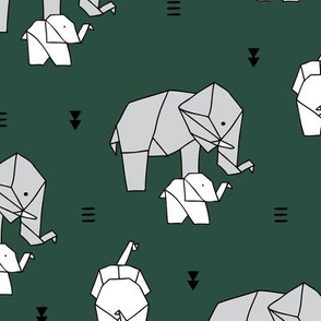 Sweet origami animal little baby elephant and mother sweet neutral boho nursery geometric design forest green