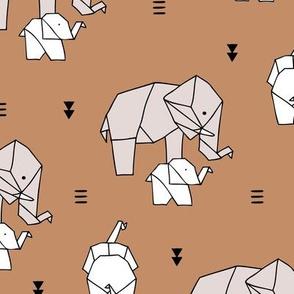 Sweet origami animal little baby elephant and mother sweet neutral boho nursery geometric design burnt orange caramel brown