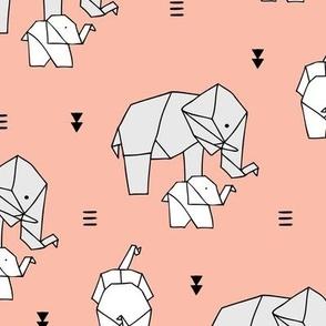 Sweet origami animal little baby elephant and mother sweet neutral boho nursery geometric design caramel peach girls