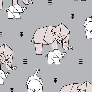 Sweet origami animal little baby elephant and mother sweet neutral boho nursery geometric design gray beige