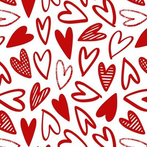 messy red hearts