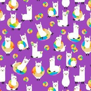 Rainbow Donuts Llama Purple - small