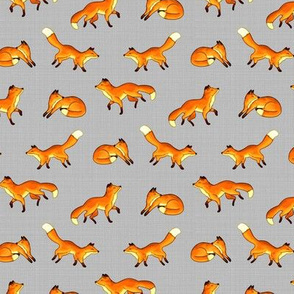 Free Frolicking Foxes on Grey - Small Scale