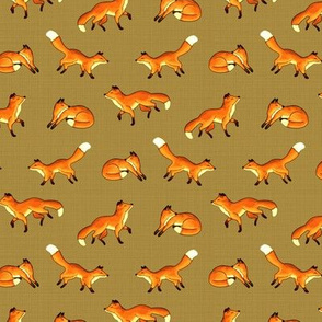Free Frolicking Foxes on Mustard Brown - Small Scale
