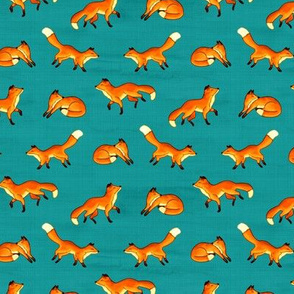 Free Frolicking Foxes on Teal - Small Scale